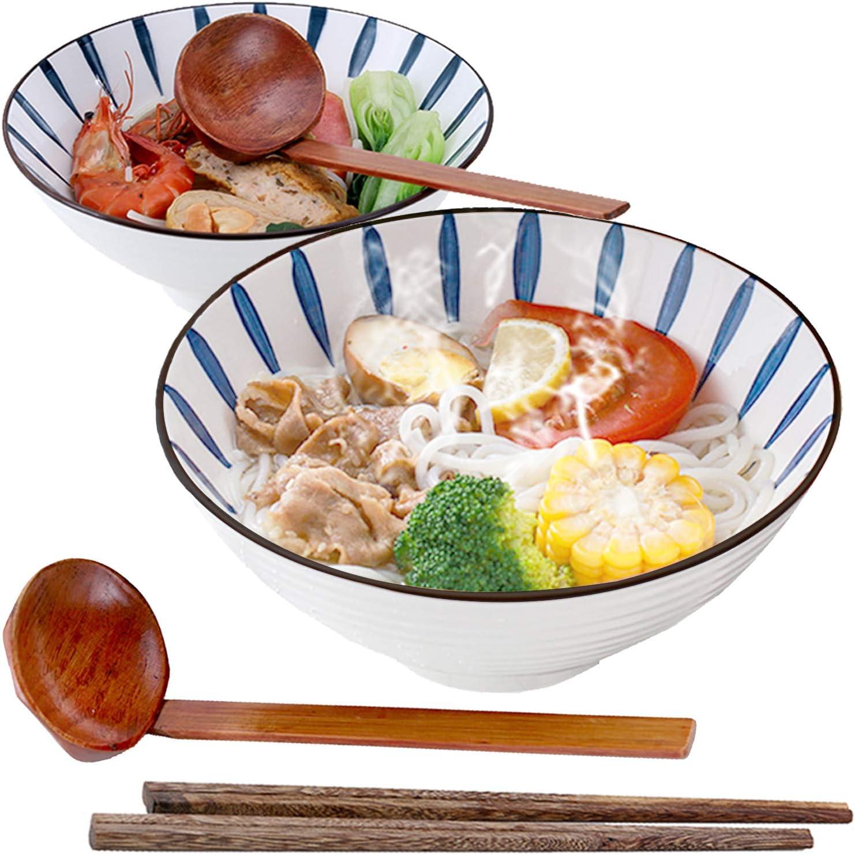 Cuencos De Ramen Cerámica Japonés, Tazones Sopa 1000ml Con Cuchara Palillos Madera 2 Juegos, for Ensalada Cereales Postre Arroz Pasta Gachas Udon Avena Merienda Soba (a)
