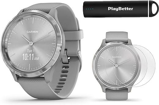 Garmin vivomove 3 (Silver/Gray) Power Bundle   +HD Screen Protectors & PlayBetter Portable Charger   Hidden Touchscreen, Analog Look   Hybrid GPS Smartwatch