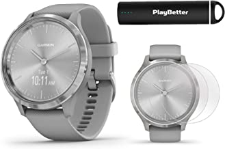 Garmin vivomove 3 Hybrid GPS Smartwatch (Silver/Gray) Power Bundle | 2019 Model | with HD Screen Protectors & PlayBetter Portable Charger | Hidden Touchscreen, Analog Look