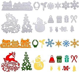 Naler 18 Pieces Christmas Metal Cutting Dies Tree Snowflake Deer Snowman Gingle Bell DIY Stencils for Scrapbooking Card Ma...