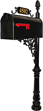 ADDRESSES OF DISTINCTION Magnolia Large Mailbox & Post System – Black Rust Resistant Mailbox – Includes Plaque, Decorative Bracket, Pineapple Finial & Mounting Hardware - Customized Address Numbers