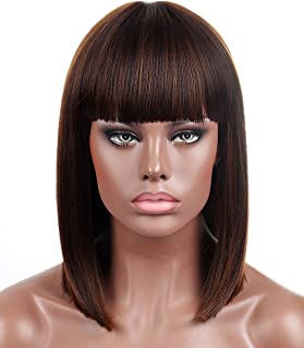 Kalyss Blunt Bob Short Hair Wigs for Women Heat Resistant Yaki Synthetic Hair Brown Highlights Women's Wig With Hair Bangs (Brown)