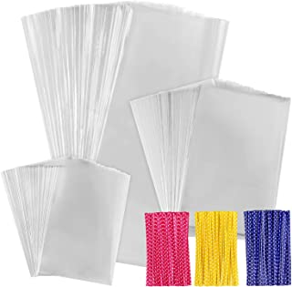 """300 PCS Clear Cellophane Treat Bags with 300 PCS 4"""" Twist Ties Cello Gift Bags for Bakery, Cookies, Candies, Dessert, 1.4 ..."""