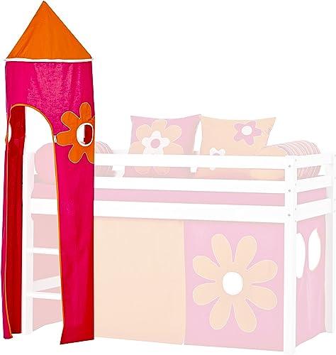 Hoppekids für für Halbhochbett, Spielbett, Hochbett, inkl Gestell, Rosa, Coton, Flower Power, 45 x 45 x 185 cm