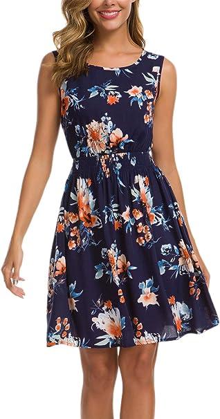 Kormei Damen Sommerkleid Armelloses Beilaufiges Strandkleid Boho A Linie Tank Kleid Knielang Amazon De Bekleidung