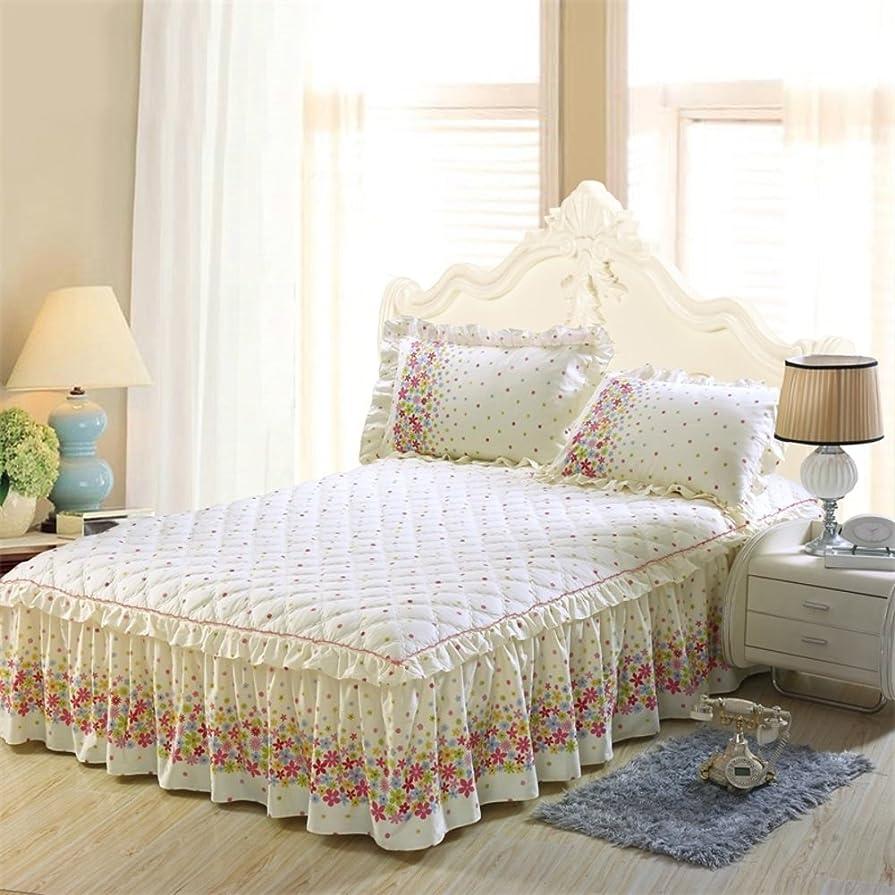 混乱した肥満筋肉の綿 ベッドスカート,17.7 インチ サギング ベッドスプレッド ヨーロピアンスタイル 農村 シート 寝室のベッドを飾る 四季ユニバーサル 子供 厚い蓋 -E 180*220cm