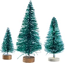WINOMO Miniature Frosted Sisal Christmas Trees Snow Pine Trees Bottle Brush Trees with Wooden Bases 32 Pcs
