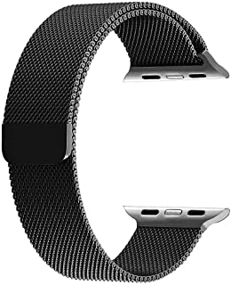 Mifan Official Milanese Loop Band For Apple Watch 44Mm/42Mm Series 1/2/3/4 Replacement Strap Black Mesh Stainless Steel Anti Sweat Cooling Wristband Bracelet With Magnetic Clasp