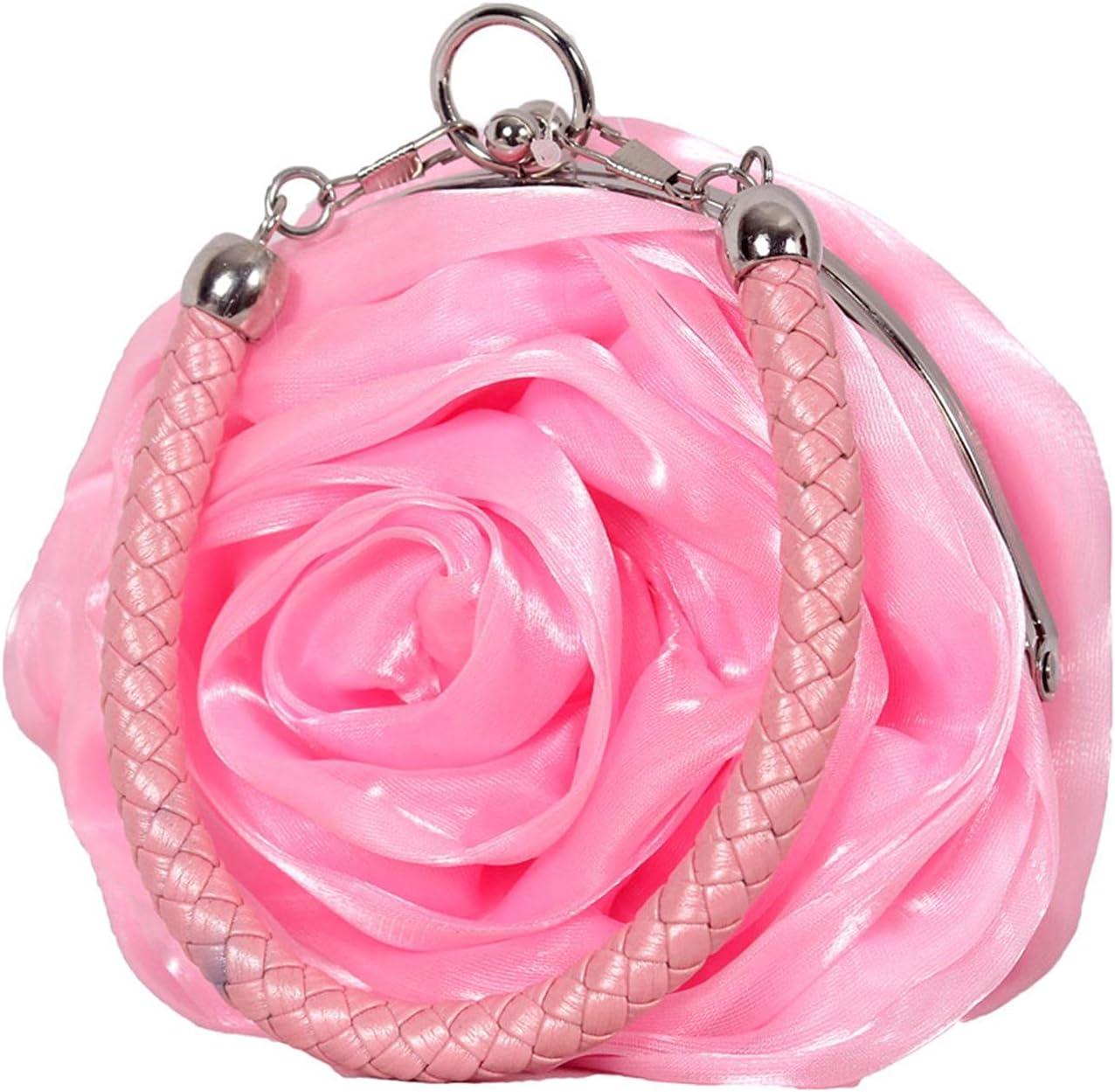Lovely Mini Round Silk Rose Flower Handbag, Bridal Wedding Dinner Bag Coin Purse,Pink