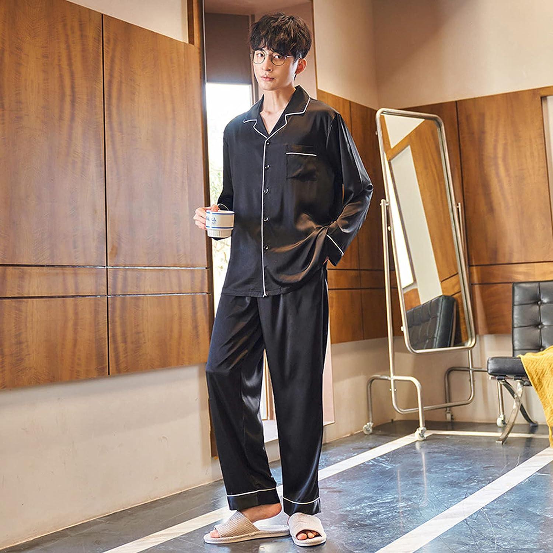 ML S HJDY Mens Silk Satin Pajamas Set Pyjamas Set PJS Sleepwear Set Loungewear,Black,L