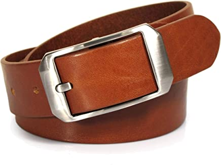 Mens Real Genuine Leather Tan Brown Belt 1.5 Wide S-L Thick Casual Jeans UM4