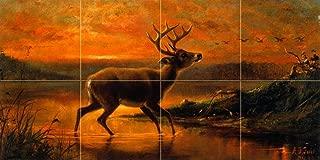 Ten Point Buck in Evening Twilight by Arthur Fitzwilliam Tait Tile Mural Kitchen Bathroom Wall Backsplash Behind Stove Range Sink Splashback 4x2 4.25