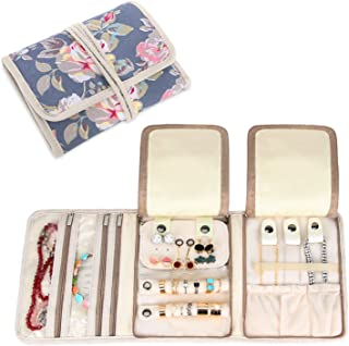 Teamoy Travel Jewelry Roll, Jewelry Storage Bag Organizer for Necklaces, Earrings, Bracelets, Rings, Brooches and More, Compact and Easy to Carry, Peony
