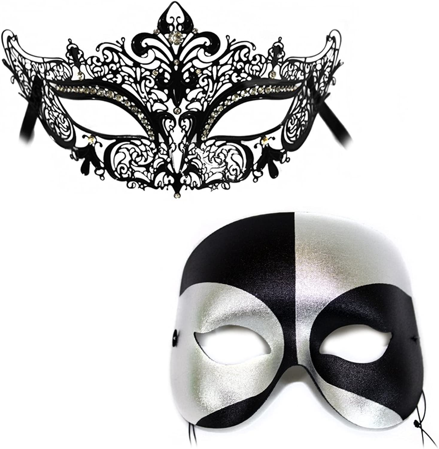 Success Creations SimoneBlack Silver Masquerade Laser Cut Classic Masquerade Masks for a Couple