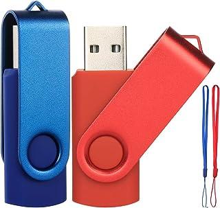 Lot de 2 Clés USB 64 Go Cle USB 2.0 Flash Drive Pivotant Stockage Disque Mémoire Stick Pendrive avec Cordes (Bleu/Rouge 64...