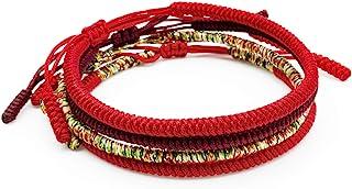 Luxfancy Pulseras Tibetanas Mujer o Hombre Set de 3 + 1 de Regalo Roja para la Suerte Hechas a Mano con Hilo Rojo Tibetano...