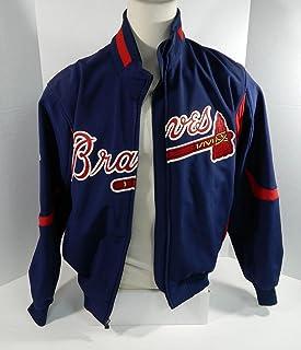 d477a85e1 Atlanta Braves Game Used Blue Bench Jacket Broken Zipper BRAVE0021 - Game  Used MLB Jerseys