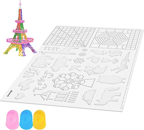 Gnvtntp Transparent 3D Printing Pen Mat - 3D Pen Mat for Kids, Adults - 16.5x11 inch - Pack with Extra Gift 2 Silicon...