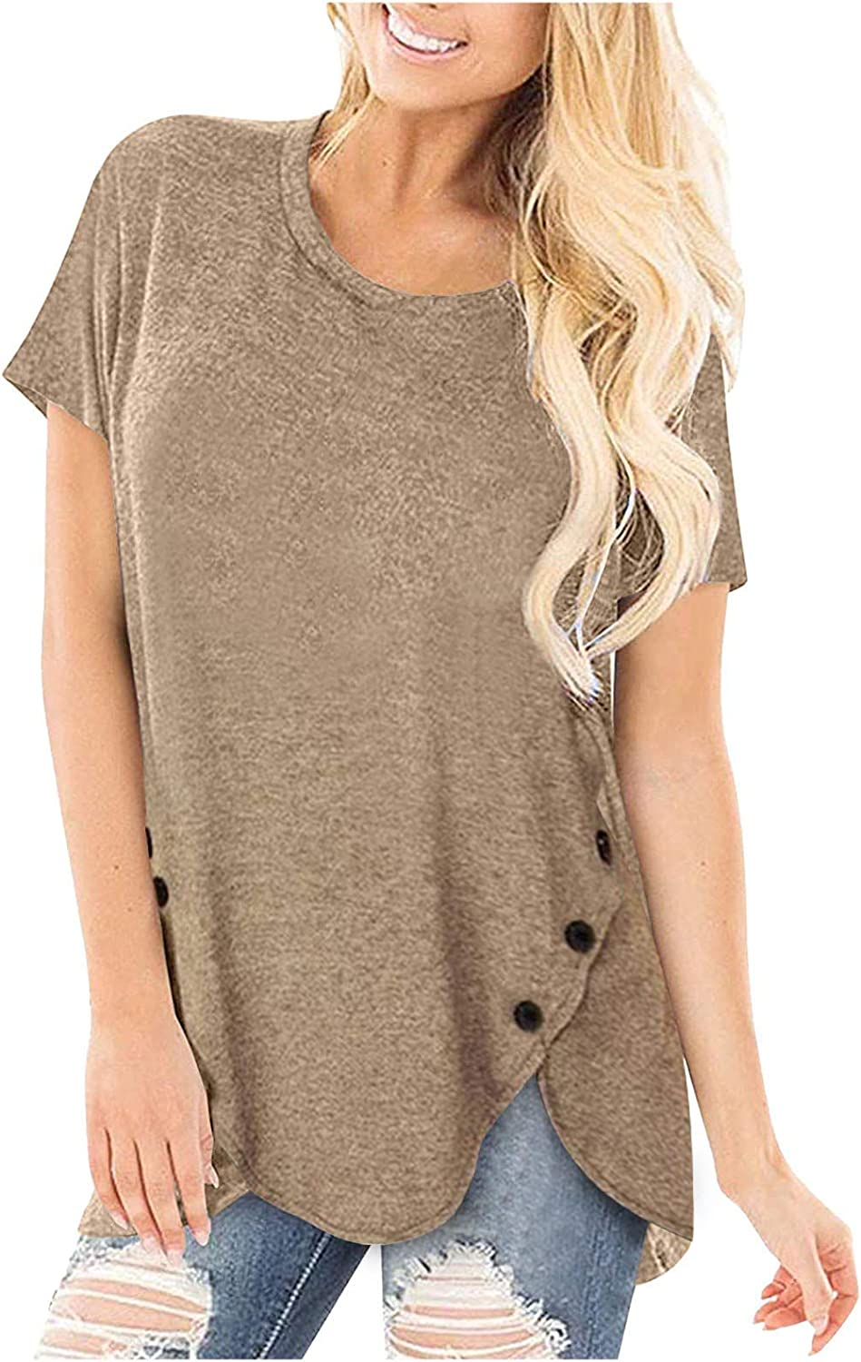 Women's Plus Size Comfortable Casual Tops Free Shipping Cheap Bargain Gift Tunic Neck Round Max 73% OFF Short