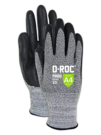 Size 6 1 Pair Magid Cut Resistant Black Nitrile Coated Work Gloves EN388 Level 5 Cut Gloves with Enhanced Grip /& Touch Screen Fingers