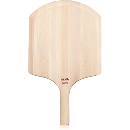 """New Star Foodservice 50295 Restaurant-Grade Wooden Pizza Peel, 16"""" L x 14"""" W Plate, with 10"""" L Wooden Handle, 24"""" Overall Length"""
