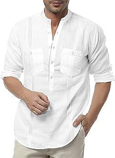 Men's Linen Henley Shirt Long Sleeve Casual Hippie Cotton Beach T Shirts