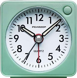 Peakeep Ultra Small, Battery Travel Alarm Clock with Snooze and Light, Silent with No Ticking Analog Quartz (Aquamarine)