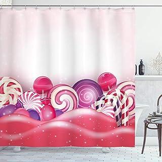 Modern Shower Curtain, Cute Rainbow-Swirl Lollipop Candy Children Yummy Nursery Design, Fabric Bathroom Decor Set with Hoo...