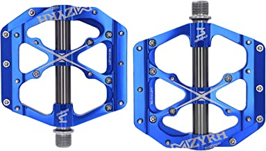 """Mzyrh 3 Bearings Mountain Bike Pedals Platform Bicycle Flat Alloy Pedals 9/16"""" Pedals Non-Slip Alloy Flat Pedals"""