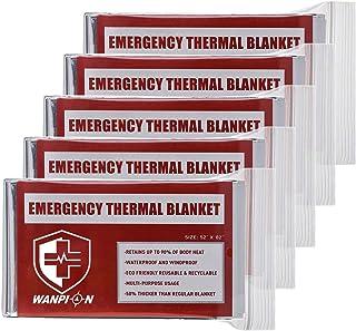 Emergency Mylar Thermal Blankets Survival Foil Space Blanket, Pack of 5, Retains 90% of Heat, Waterproof, Survival Gear Em...