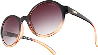 Black and Peach Cotton Round Sunglasses Lens Category 3