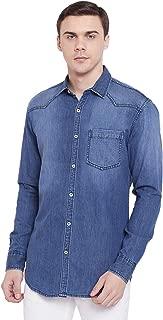 KROSSSTITCH Men's Denim Light Blue Solid Casual Full Sleeve Shirt