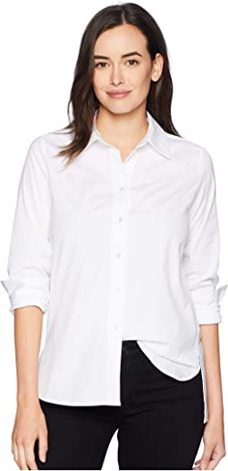 Button Front Shirt with Hi-Lo Hem
