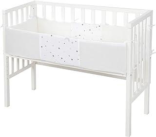 roba, Beistellbett 2in1 safe asleep für alle Elternbetthöhen inklusive belüfteter Matratze belüftetes Nestchen und Barriere, weiß