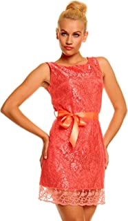 Fashion Girl Elegantes Minikleid mit Spitze Abendkleid Cocktailkleid Festkleid Lachs M 36