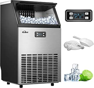 Commercial Ice Maker Machine Kealive Freestanding Ice Maker, 99lbs Ice in 24hrs with 33 lbs Storage Capacity, Stainless Steel LCD Display, Ice Scoop and Connection Hose