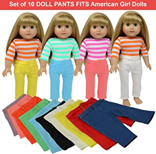 Doll Pants for 18 Inch Dolls- Set of 10 - Fits American Girl Doll Clothing