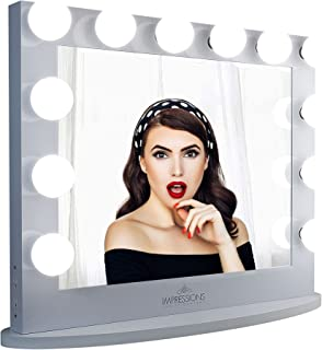 Impressions Hollywood Iconic Plus Vanity Mirror with 12 Frosted LED Bulbs, Vanity Dressing Mirror with Wooden Base and Pow...