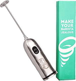 Frothy Hand Mixer and Milk Frother by Cafe Casa, Battery-Operated Foamer, Stainless Steel Drink Mixer for Expert Lattes Milkshakes Matcha Cappuccinos, 2-Speed Handheld Electric Mixer