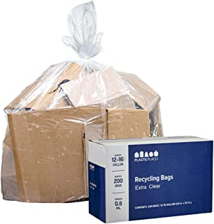"""Plasticplace 12-16 Gallon Recycling Trash Bags │0.9 Mil │ Extra Clear Garbage Bags │ 24"""" x 33"""" (200 Count)"""