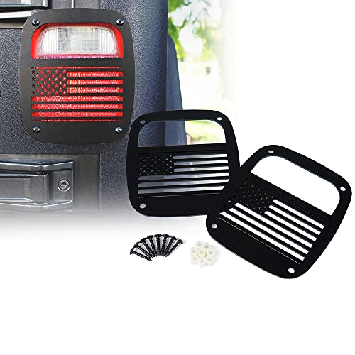 Xprite Matte Series Black Rear Tailight (Tail Light) Protector Cover Guards U.S Patriotic American