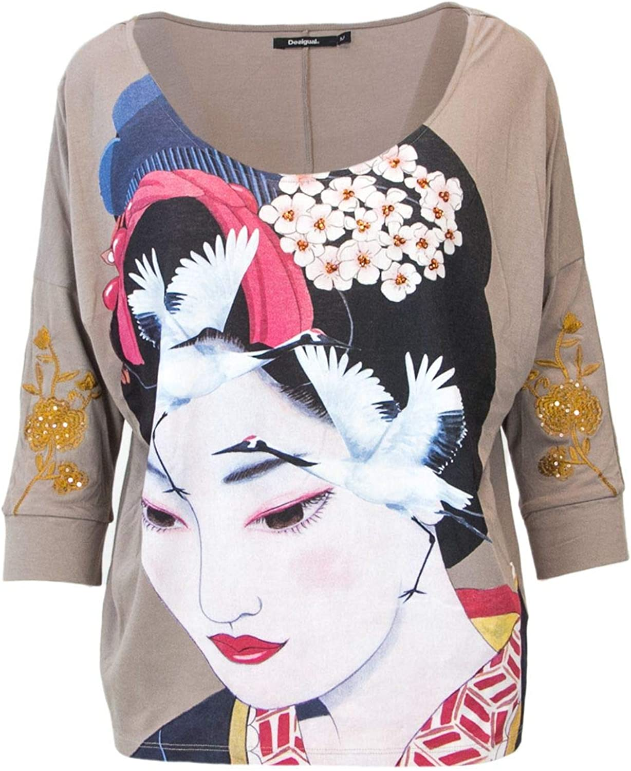 Desigual Women's 18WWTKBZBEIGE Beige Cotton Blouse