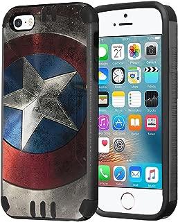 iPhone SE Case, Capsule-Case Hybrid Dual Layer Slim Defender Armor Combat Case (Dark Grey & Black) Brush Texture Finishing for iPhone SE/iPhone 5s / iPhone 5 - (Rock Star)