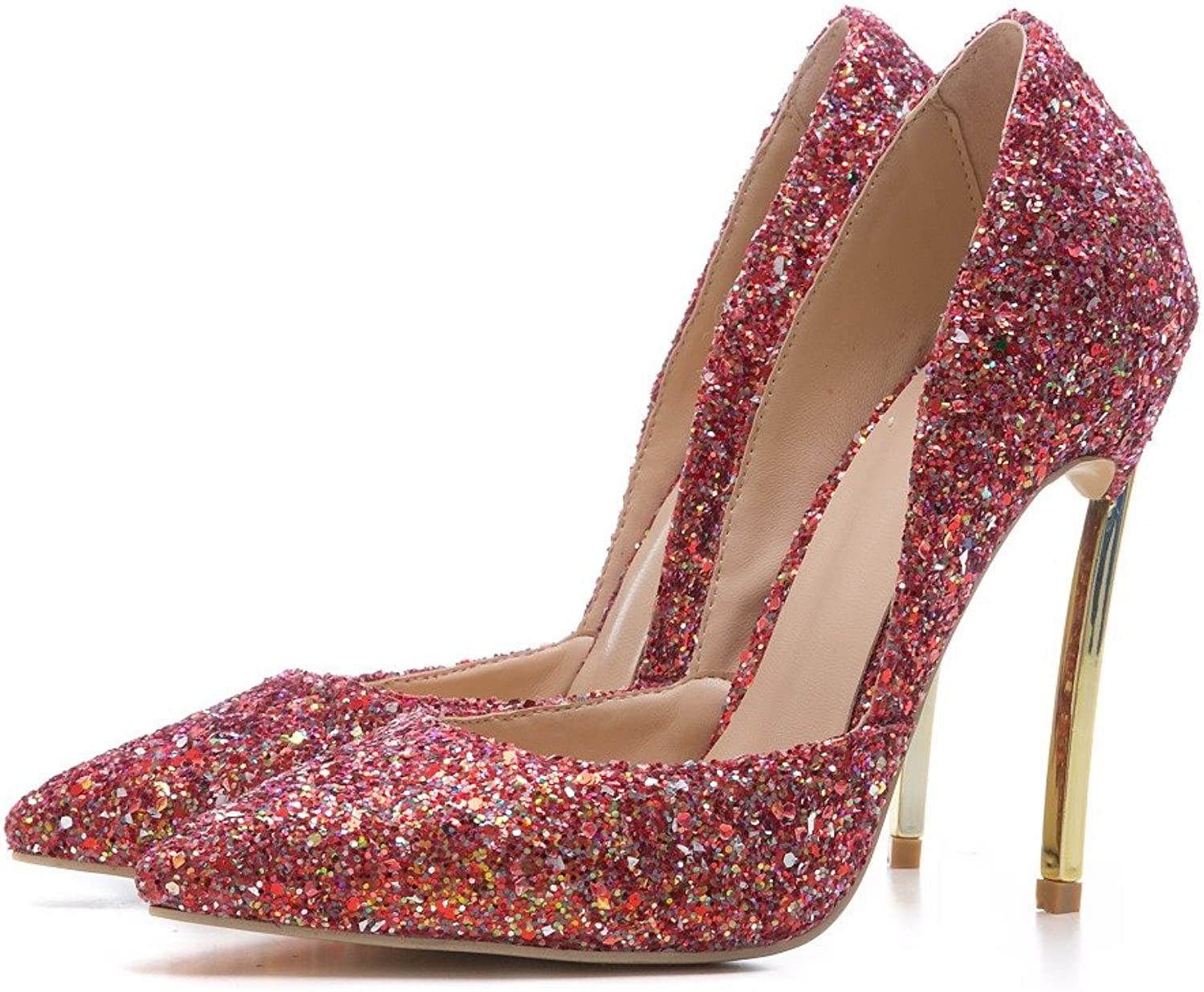 Themost Womens Sparkly Glitter Dress shoes Evening Party Metal High Heel Pumps by