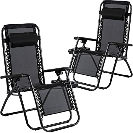 Partnext Set of 2 Zero Gravity Chairs Oversized Adjustable Outdoor Folding Camping Recliners Patio Lounge Chair with Pillows and Cup Tray Black