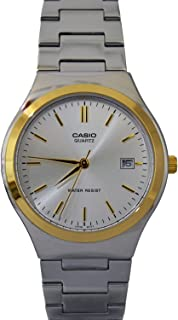Casio Mens Stainless Steel Two Tone Baton Analog Dress Watch MTP-1170G-7A