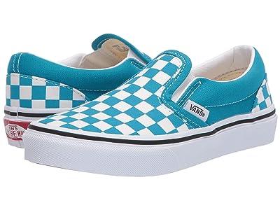 Vans Kids Classic Slip-On (Little Kid) ((Checkerboard) Caribbean Sea/True White) Kids Shoes