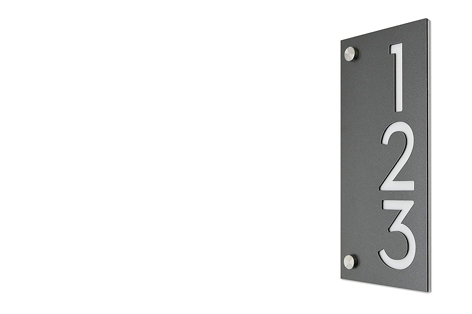 Modern House Numbers Sale SALE% OFF Small Vertical Aluminum Gray Charlotte Mall Metallic with