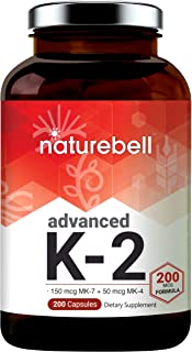 Advanced Vitamin K2 Supplement with MK-7 & MK-4, 200 mcg, 200 Capsules, Vitamin K2 Complex Supplement, Supports Joint and ...