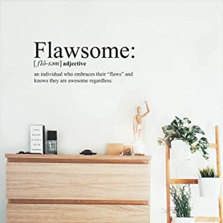 """Vinyl Wall Art Decal - Flawsome - 12"""" x 30"""" - Modern Inspirational Self Worth Quote for Home Bedroom Bathroom Office Workp..."""
